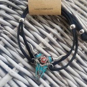 Jewelry - Steer Head turquoise Boho Hippie cord bracelet